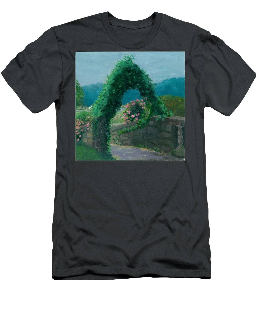 Landscape Men's T-Shirt (Athletic Fit) featuring the painting Morning At Harkness Park by Paula Emery
