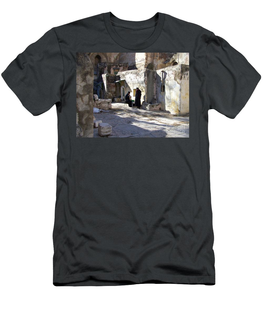 Jerusalem Men's T-Shirt (Athletic Fit) featuring the photograph Morning Conversation by Kathy McClure