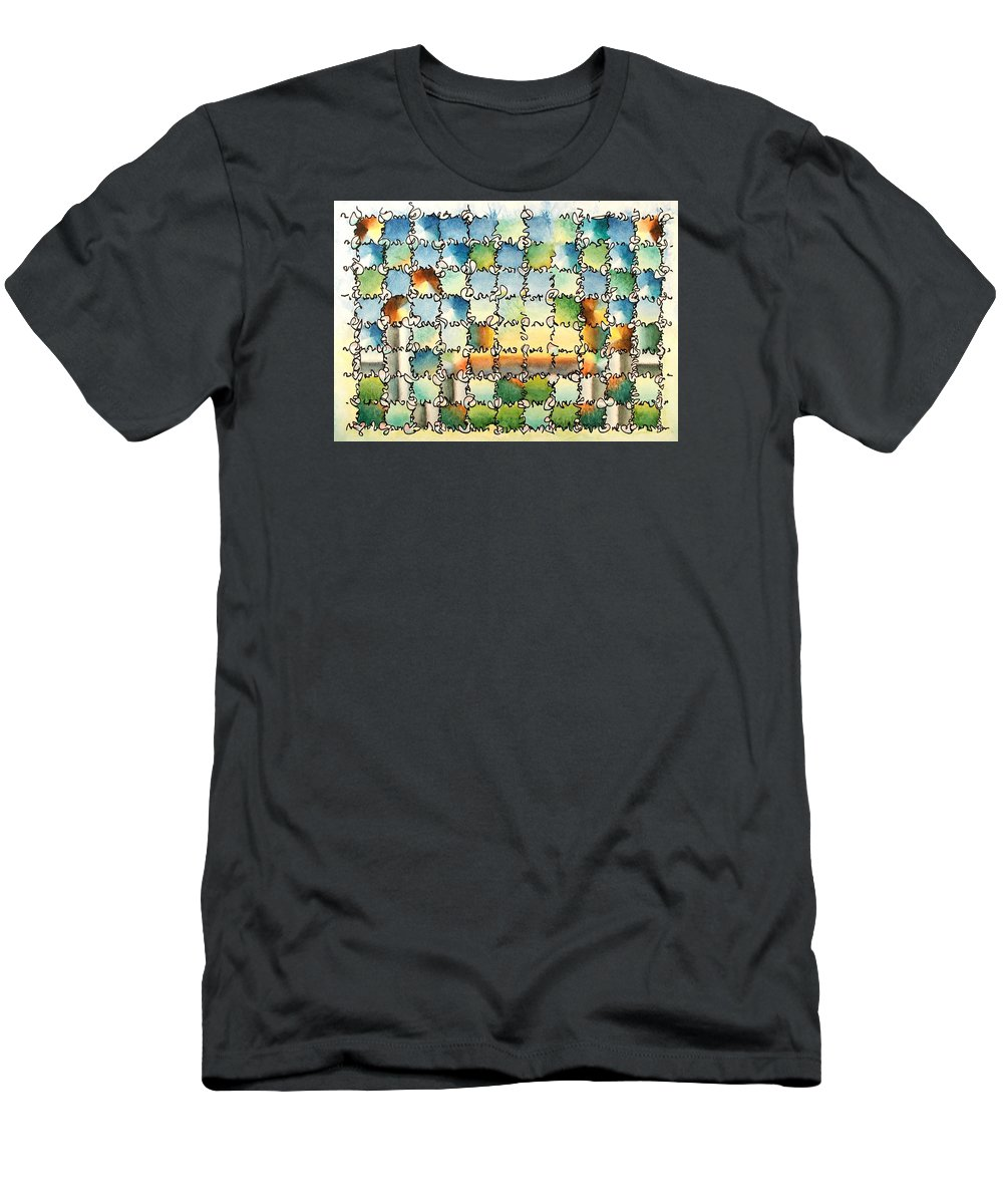 Watercolor Men's T-Shirt (Athletic Fit) featuring the painting Morning Gateway by Dave Martsolf