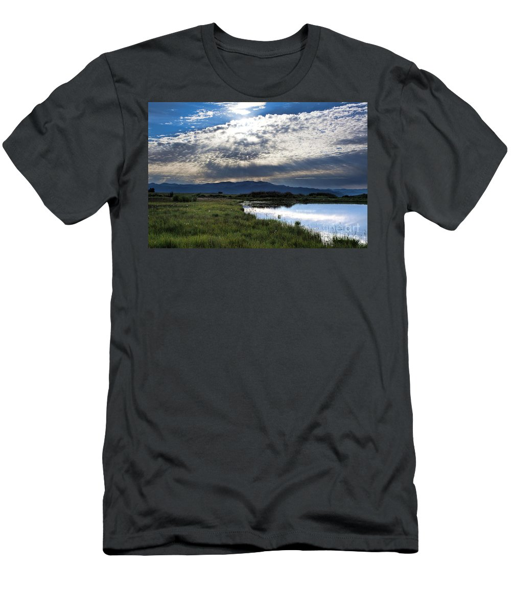 Sun Rays Men's T-Shirt (Athletic Fit) featuring the photograph Morning Glory by Jim Garrison