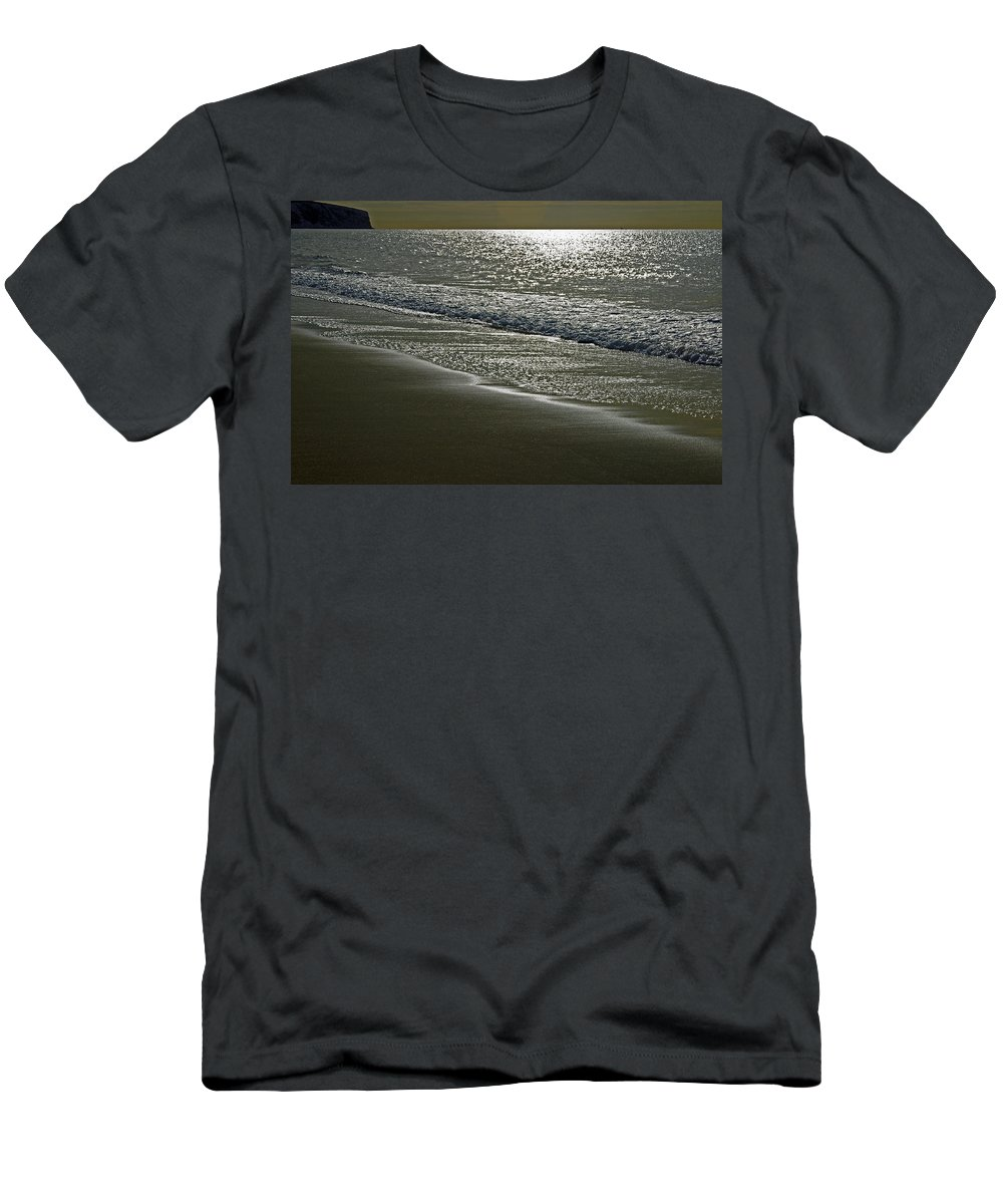 Sandown Men's T-Shirt (Athletic Fit) featuring the photograph Morning Light On Sandown Beach by Rod Johnson