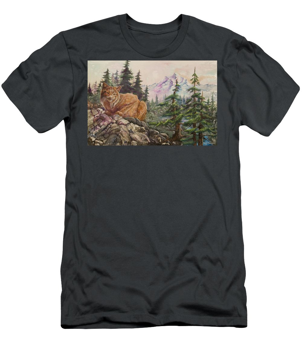 Cat Men's T-Shirt (Athletic Fit) featuring the painting Morning Lynx by Sherry Shipley