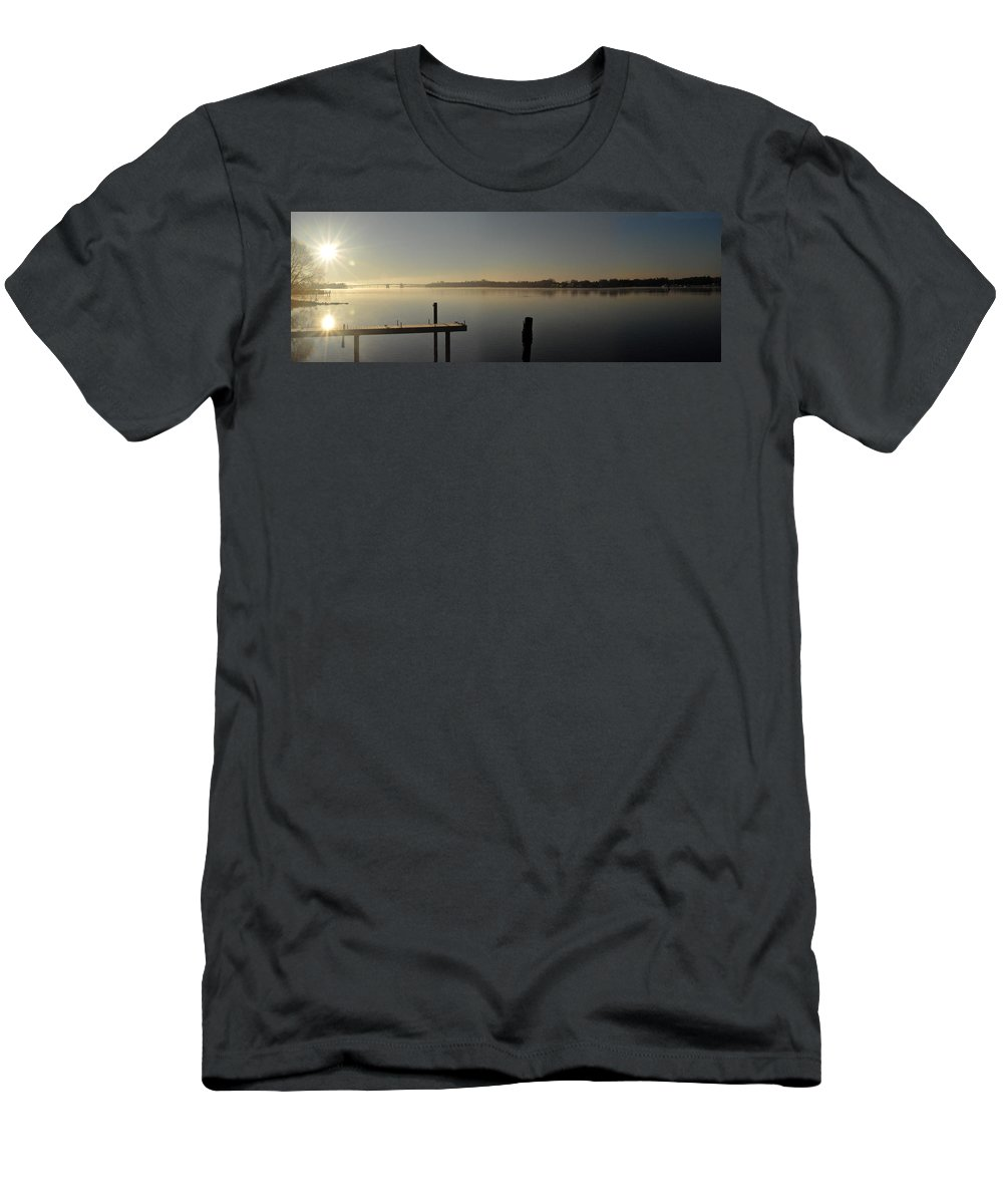 Water Men's T-Shirt (Athletic Fit) featuring the photograph Morning On The Bay by Tim Nyberg