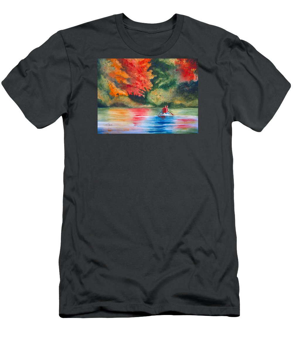 Lake Men's T-Shirt (Athletic Fit) featuring the painting Morning On The Lake by Karen Stark