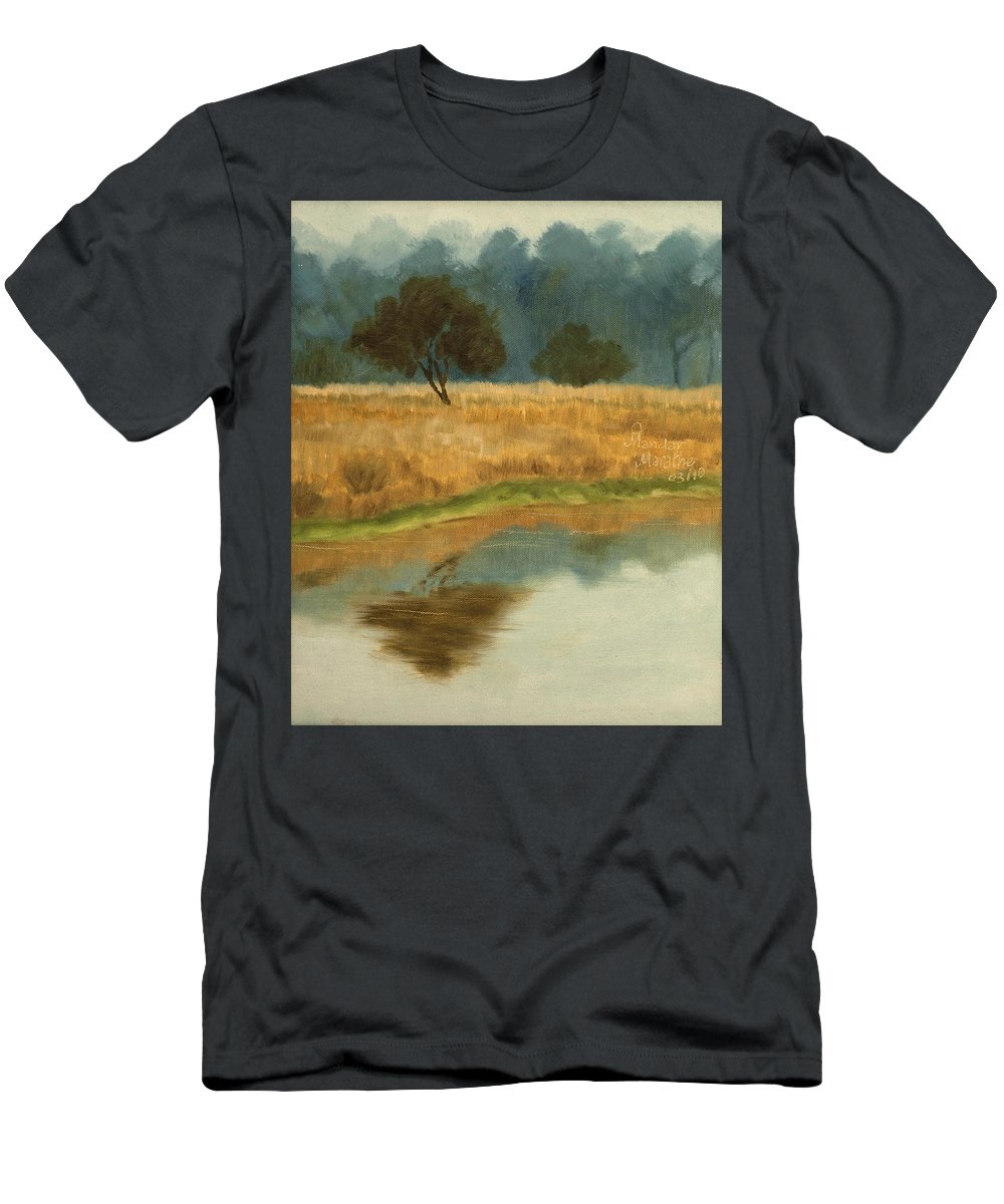 Landscape Men's T-Shirt (Athletic Fit) featuring the painting Morning Still by Mandar Marathe