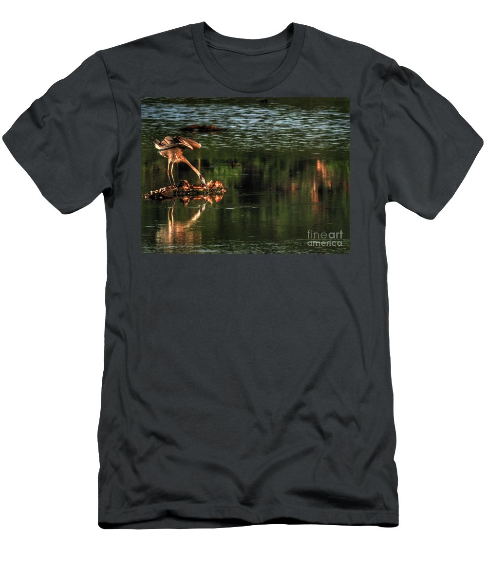 Bombay Hook Men's T-Shirt (Athletic Fit) featuring the photograph Morning Stretch by Rrrose Pix
