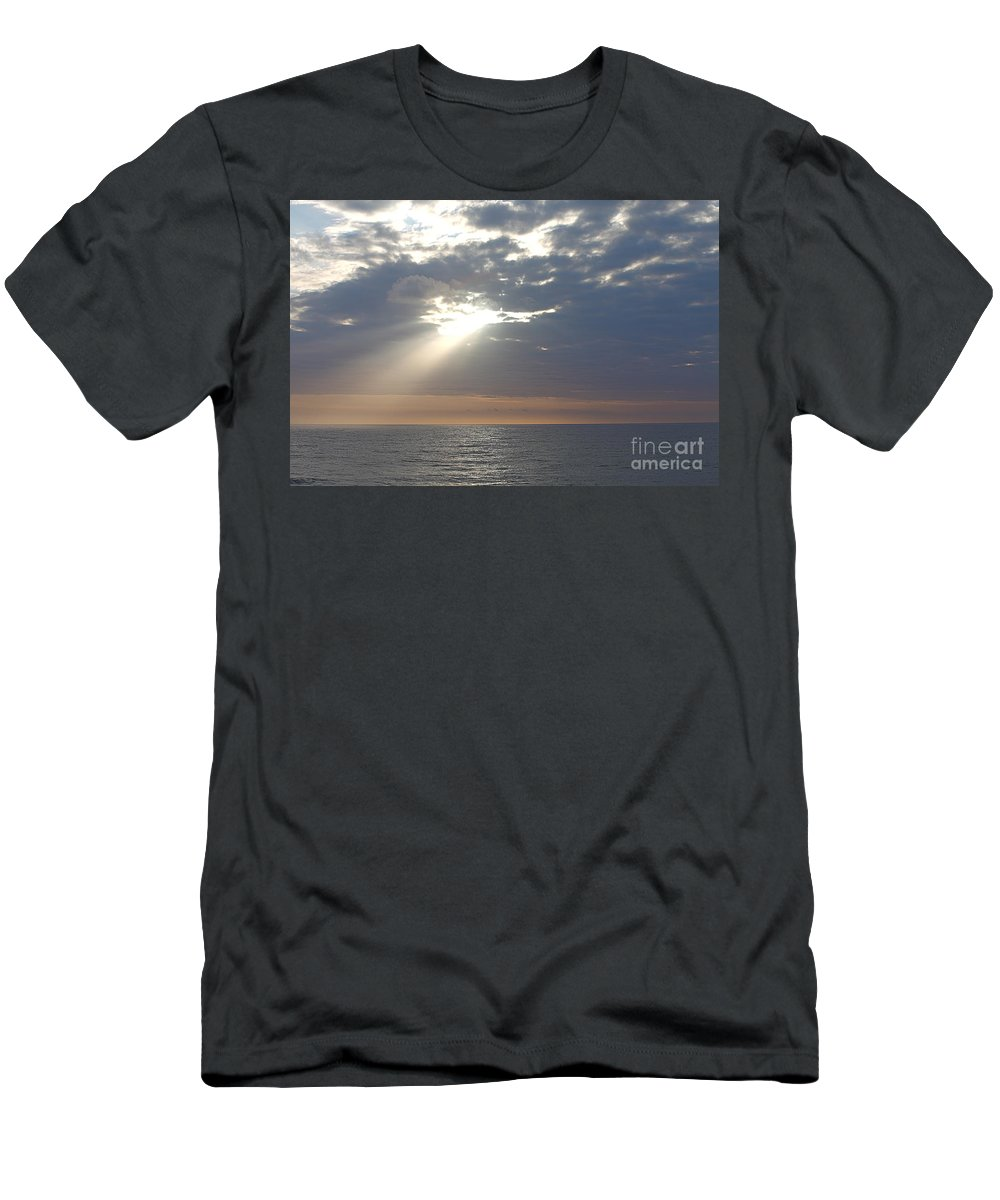 Sky Men's T-Shirt (Athletic Fit) featuring the photograph Morning Sunburst by Nadine Rippelmeyer