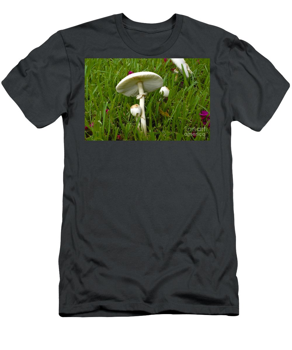 Mushrooms Men's T-Shirt (Athletic Fit) featuring the photograph Morning Surprise by David Lee Thompson