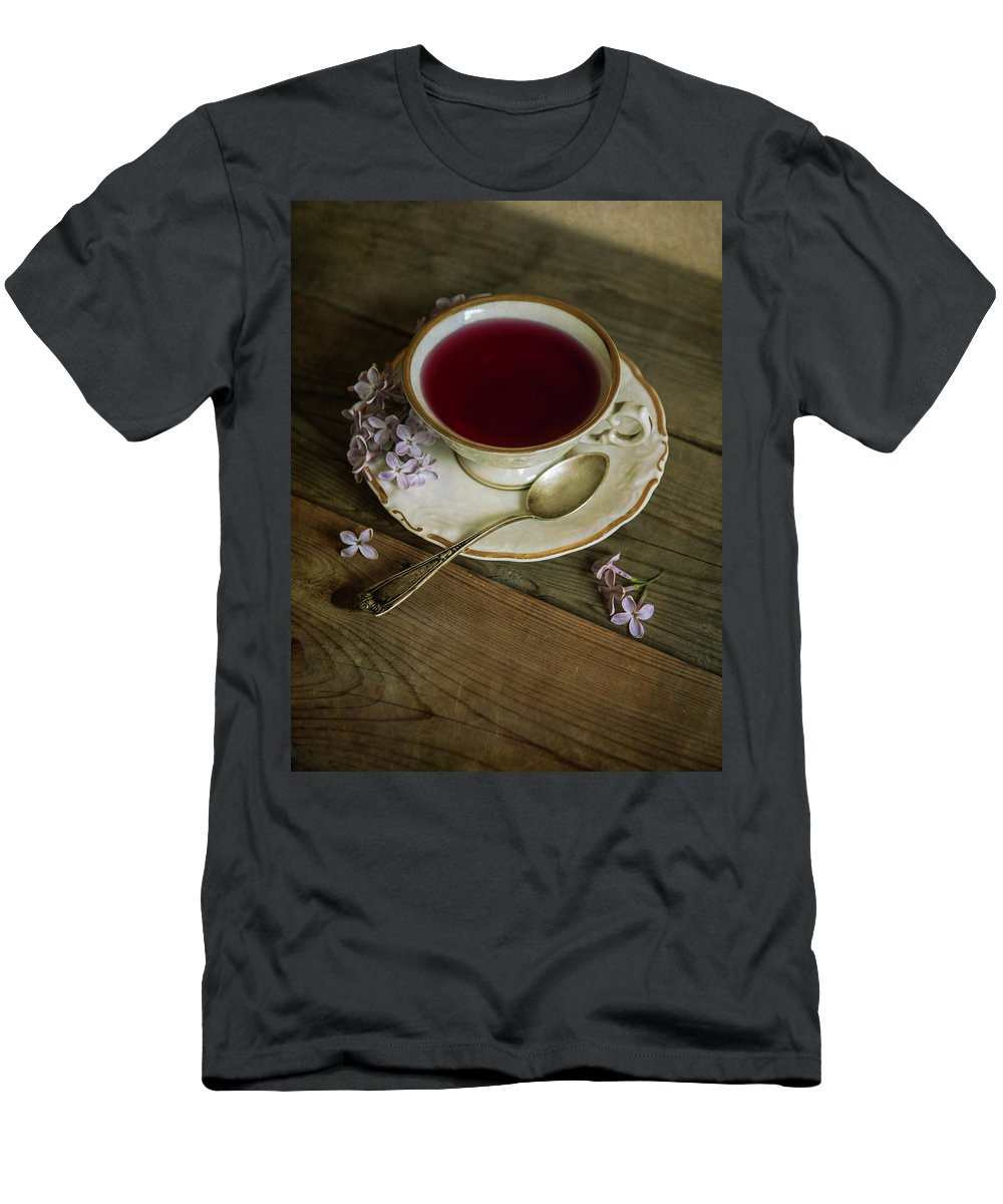 Teacup Men's T-Shirt (Athletic Fit) featuring the photograph Morning Tea With Lilacs by Jaroslaw Blaminsky