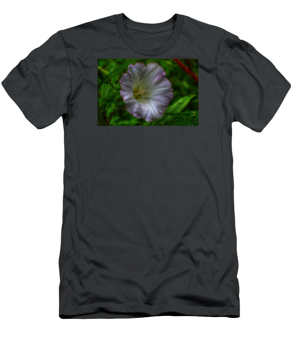 Flower Men's T-Shirt (Athletic Fit) featuring the photograph Morning Tears by Kosmic Kreations