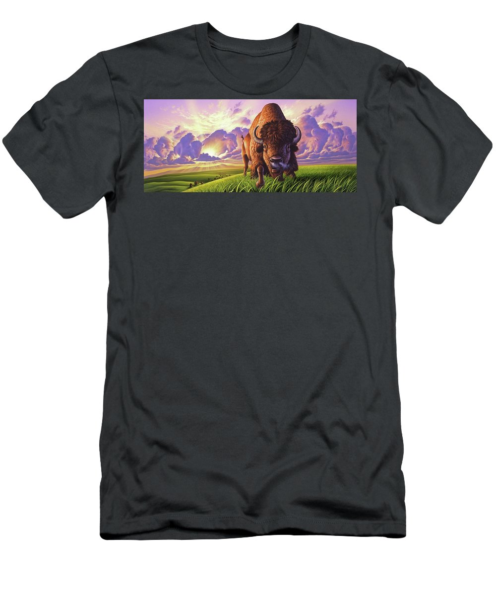Buffalo Men's T-Shirt (Athletic Fit) featuring the painting Morning Thunder by Jerry LoFaro