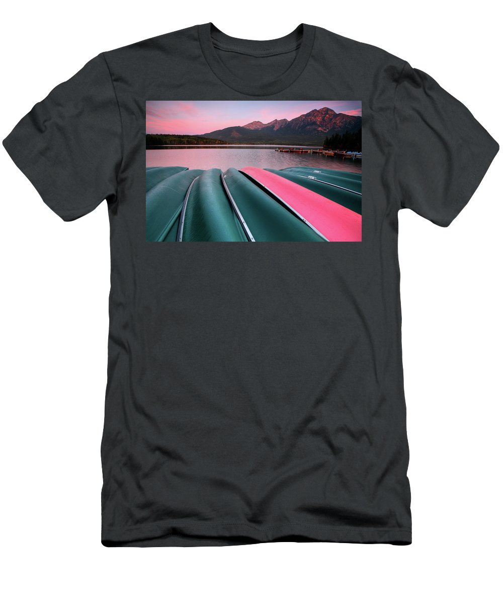 Benches Men's T-Shirt (Athletic Fit) featuring the digital art Morning View Of Pyramid Lake In Jasper National Park by Mark Duffy