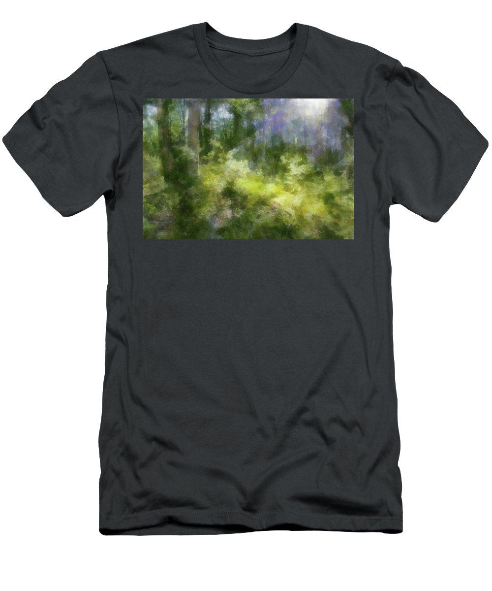 Forest Men's T-Shirt (Athletic Fit) featuring the digital art Morning Walk In The Forest by Francesa Miller