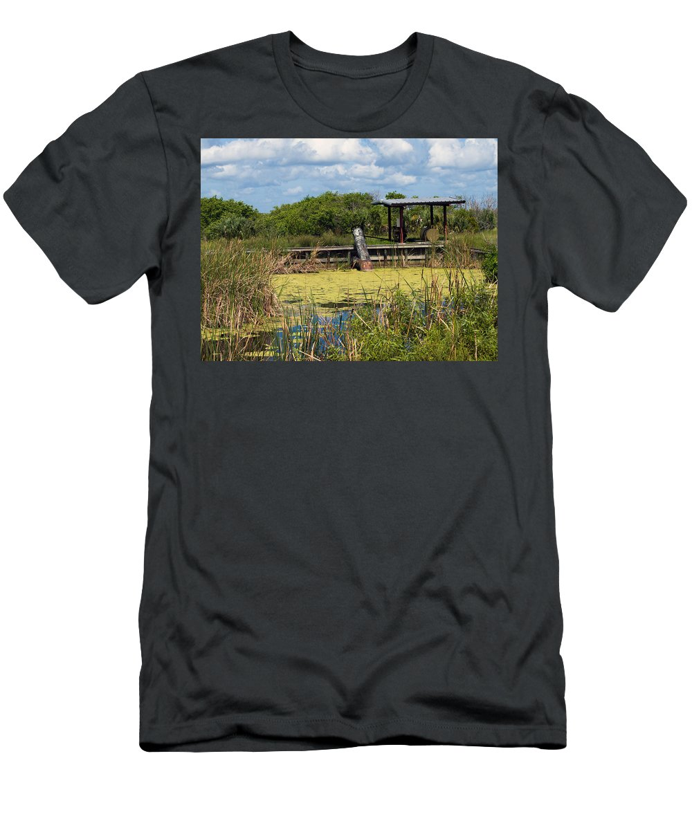 Florida; Mosquito; Coast; Flood; Flooding; Water; Salt; Marsh; Impoundment; Impound; Contain; Pond; Men's T-Shirt (Athletic Fit) featuring the photograph Mosquito Impoundement In Florida by Allan Hughes