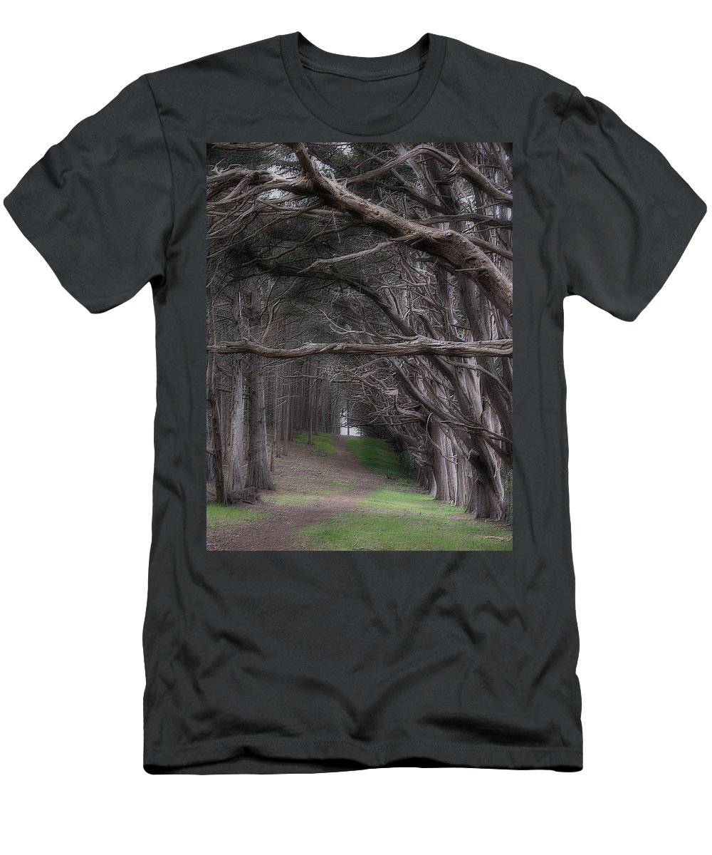 Landscape Men's T-Shirt (Athletic Fit) featuring the photograph Moss Beach Trees 4191 by Karen W Meyer