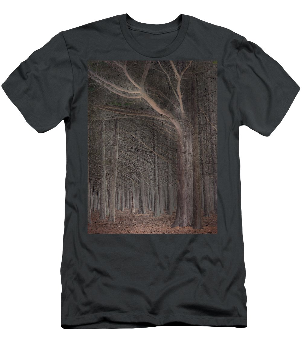 Landscapes Men's T-Shirt (Athletic Fit) featuring the photograph Moss Beach Trees by Karen W Meyer