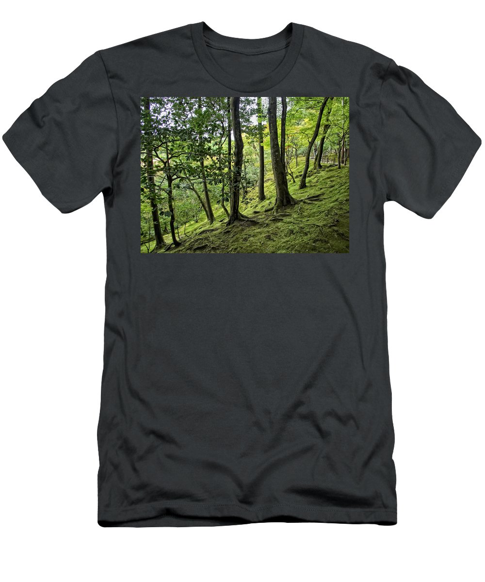 Moss Men's T-Shirt (Athletic Fit) featuring the photograph Moss Forest - Ginkakuji Temple - Japan by Daniel Hagerman
