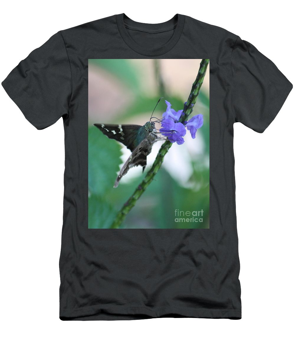 Nature Men's T-Shirt (Athletic Fit) featuring the photograph Moth On Blue Flower by Carol Groenen