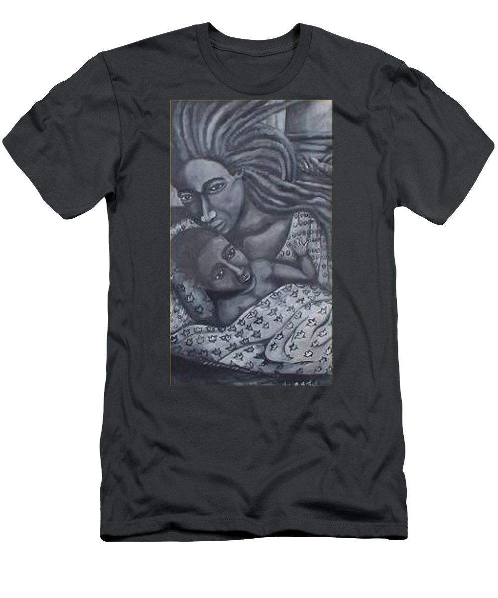 Mother Taking Care Of Child T-Shirt featuring the painting Mother And Son by Andrew Johnson