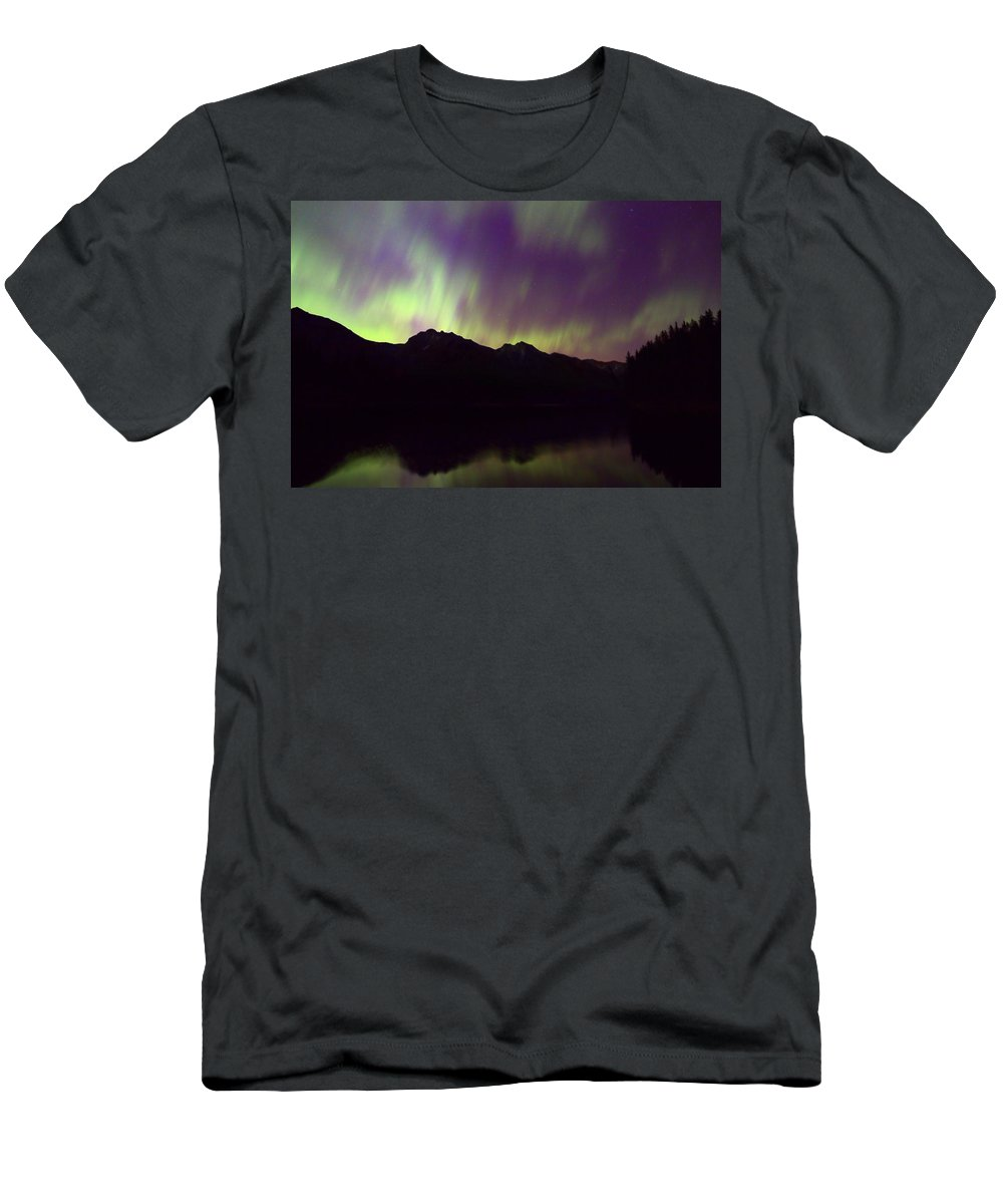 Johnson Lake Men's T-Shirt (Athletic Fit) featuring the photograph Mother Natures Fireworks by James Anderson