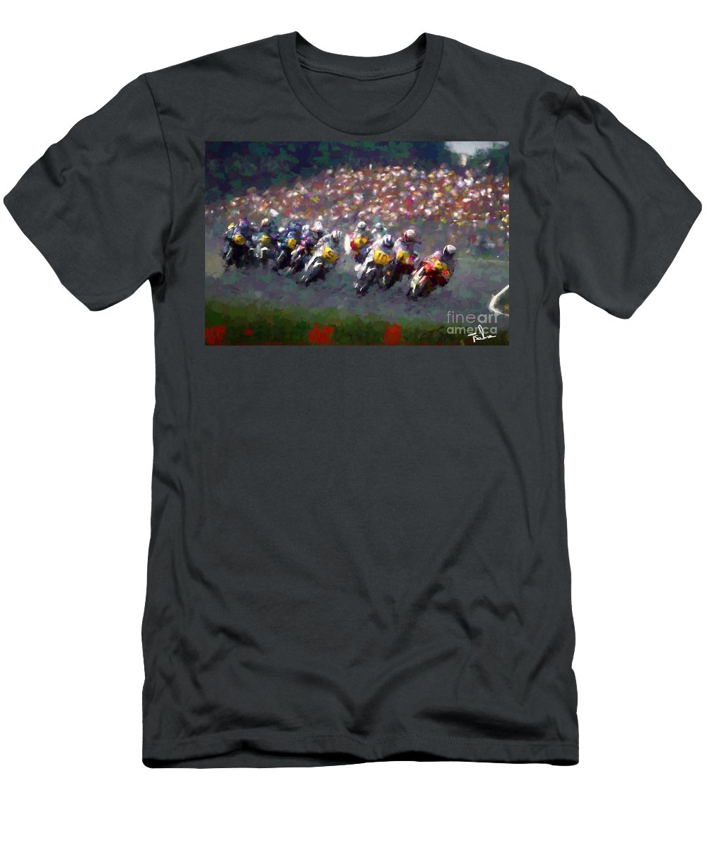 Motorcycle Men's T-Shirt (Athletic Fit) featuring the digital art Motorcycle Race by Tom Sachse
