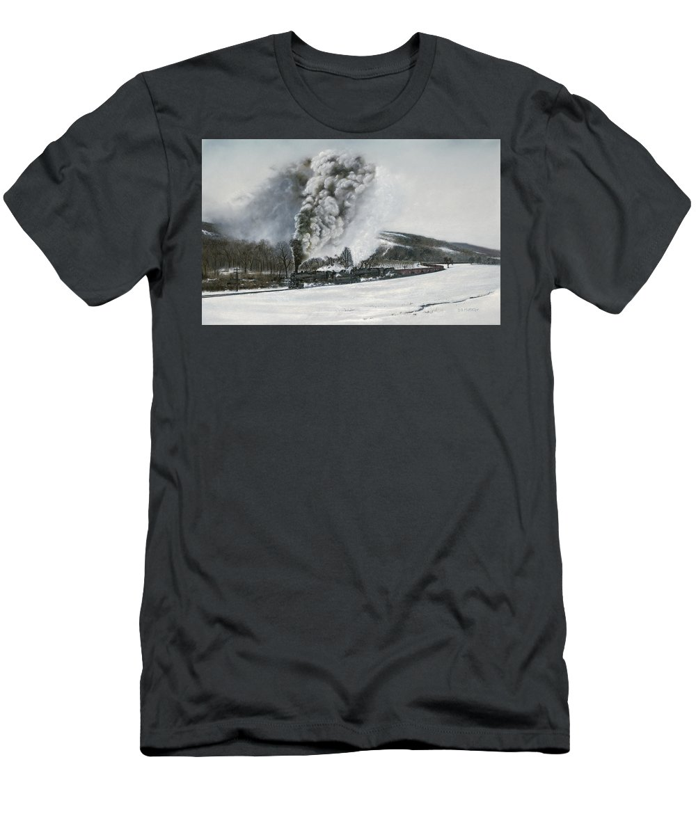 Trains Men's T-Shirt (Athletic Fit) featuring the painting Mount Carmel Eruption by David Mittner