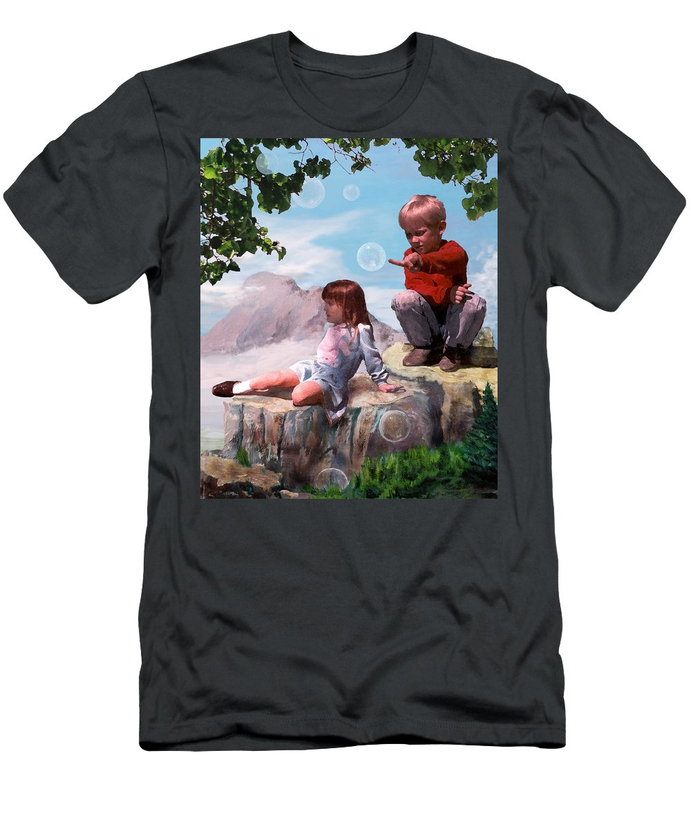 Landscape Men's T-Shirt (Slim Fit) featuring the painting Mount Innocence by Steve Karol