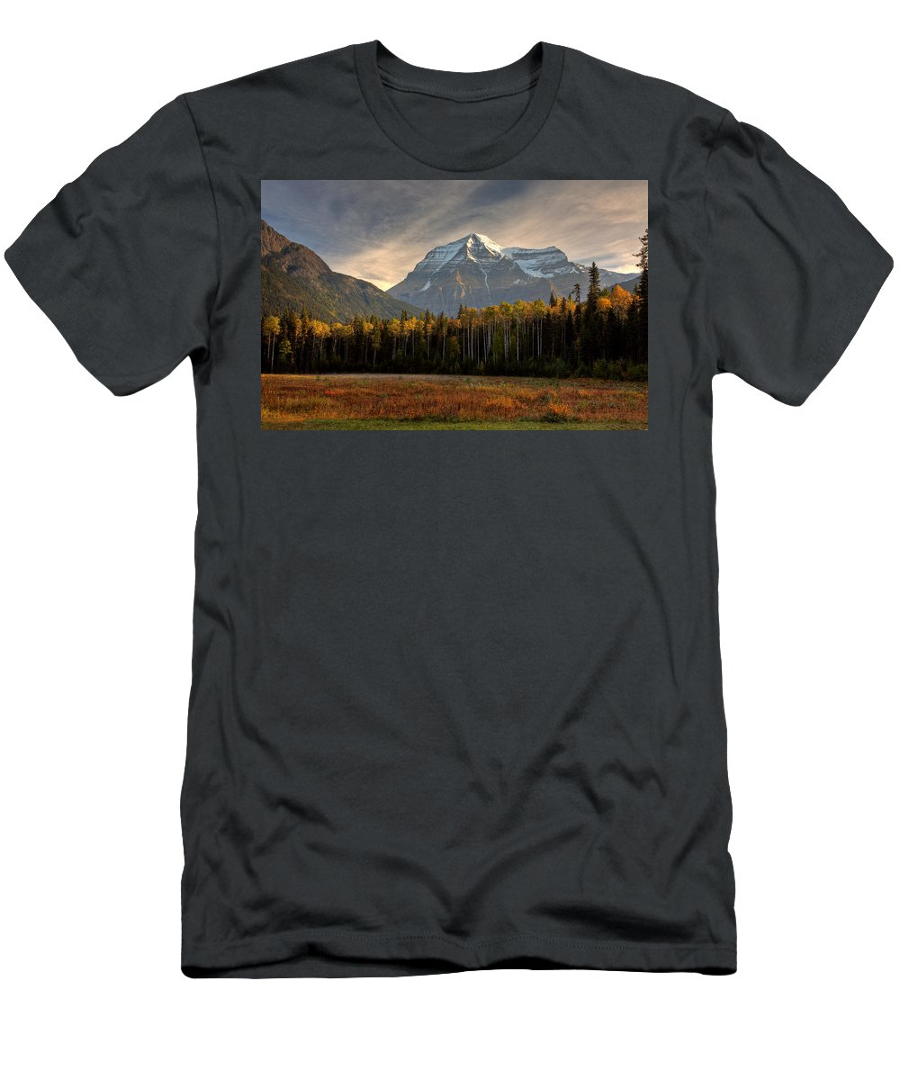 Meadow Men's T-Shirt (Athletic Fit) featuring the digital art Mount Robson In Autumn by Mark Duffy