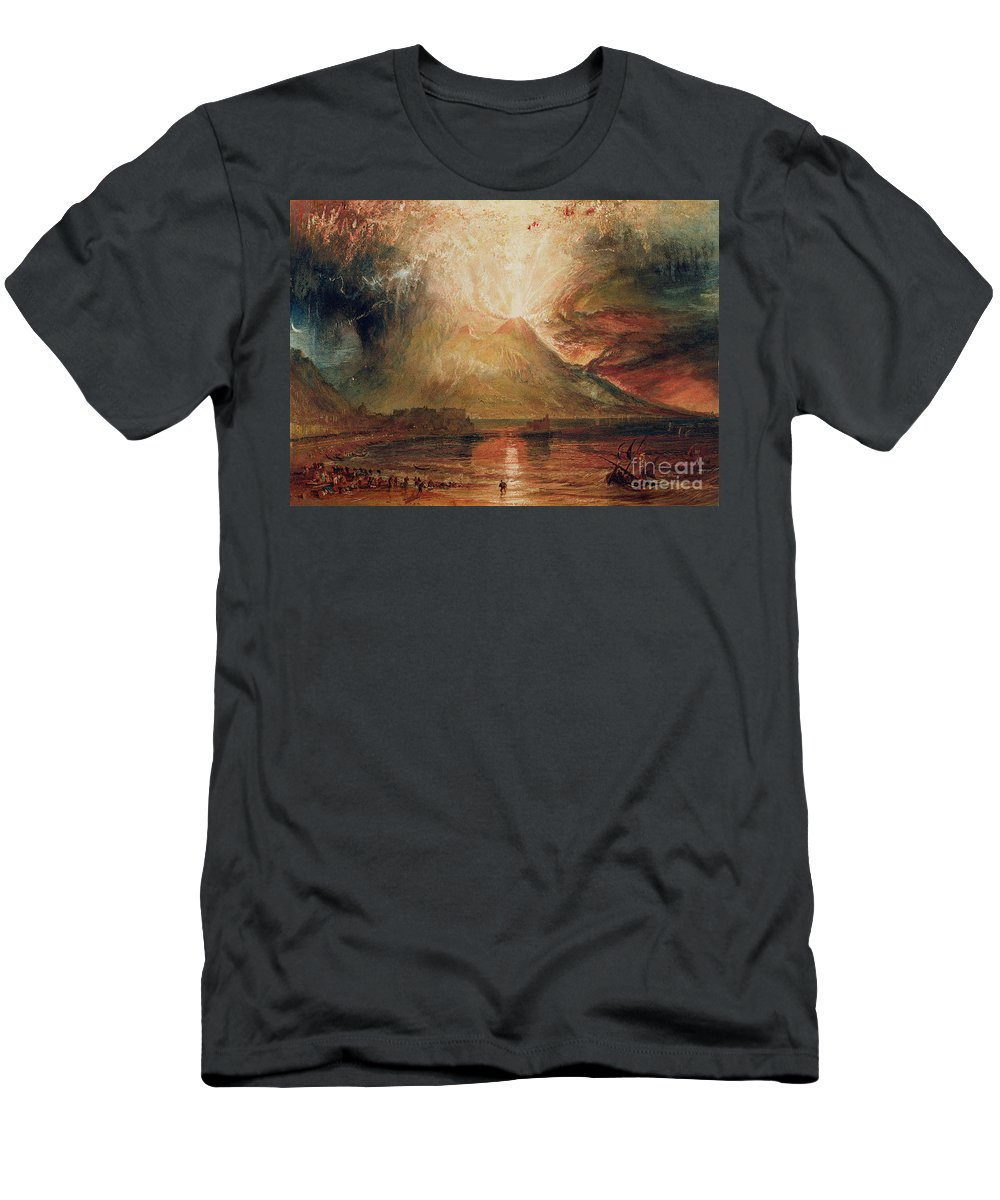 Mount Men's T-Shirt (Athletic Fit) featuring the painting Mount Vesuvius In Eruption by Joseph Mallord William Turner