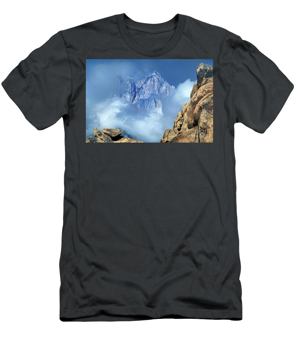 Eastern Sierras Men's T-Shirt (Athletic Fit) featuring the photograph Mount Whitney Clearing Storm Eastern Sierras California by Dave Welling