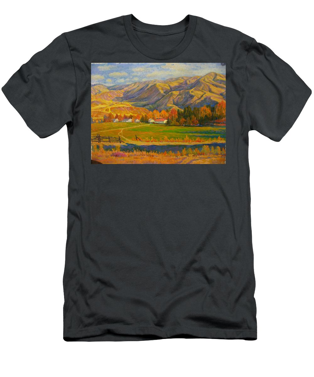 Men's T-Shirt (Athletic Fit) featuring the painting Mountain by Deliang Ma