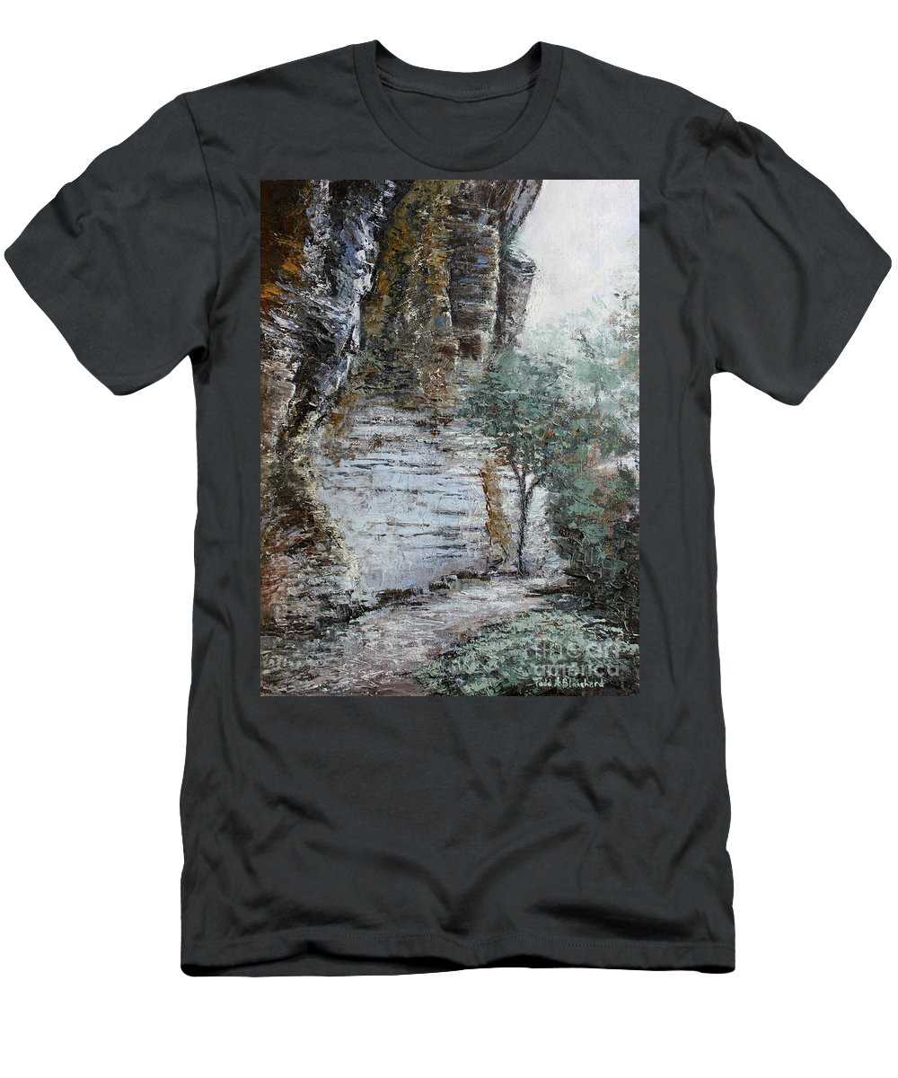 Landscape Men's T-Shirt (Athletic Fit) featuring the painting Mountain Pass by Todd Blanchard