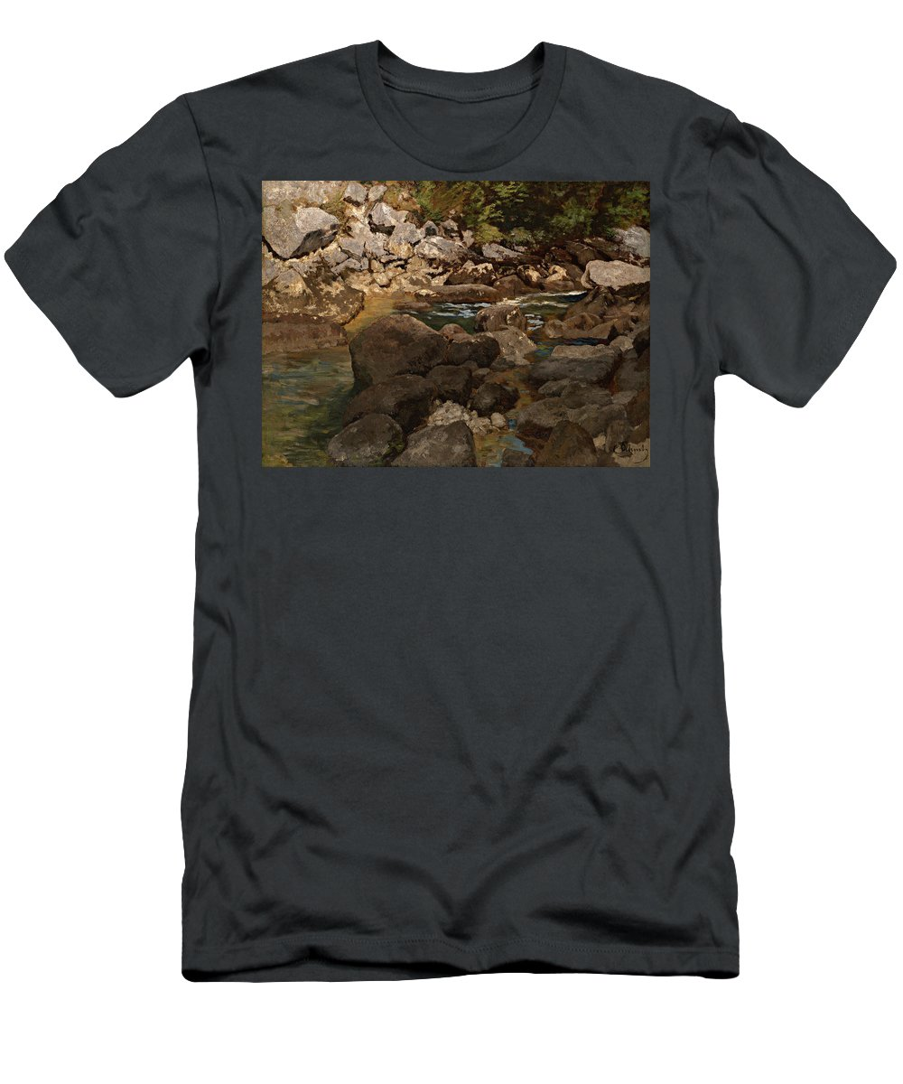 Painting Men's T-Shirt (Athletic Fit) featuring the painting Mountain Stream With Boulders by Mountain Dreams