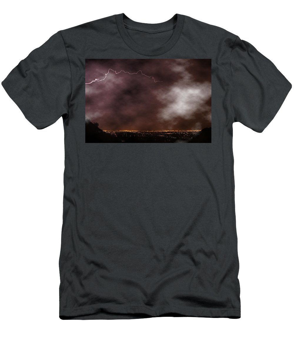 Lightning Men's T-Shirt (Athletic Fit) featuring the photograph Mountain View by James BO Insogna