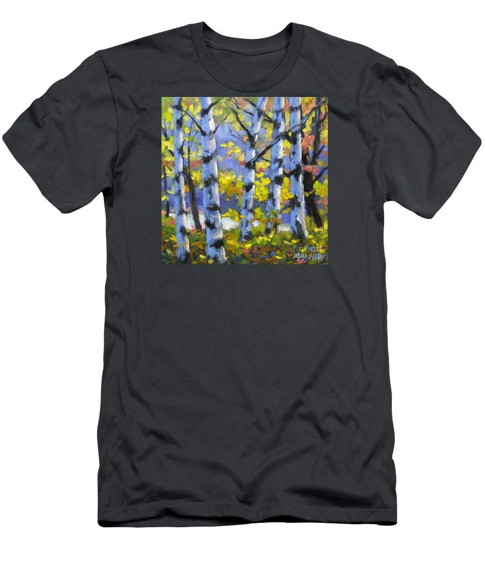 Art Men's T-Shirt (Athletic Fit) featuring the painting Mountain View by Richard T Pranke