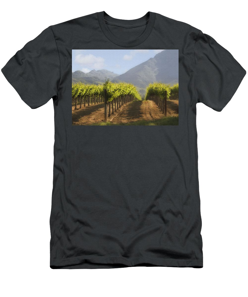 Mountain Men's T-Shirt (Athletic Fit) featuring the digital art Mountain Vineyard by Sharon Foster