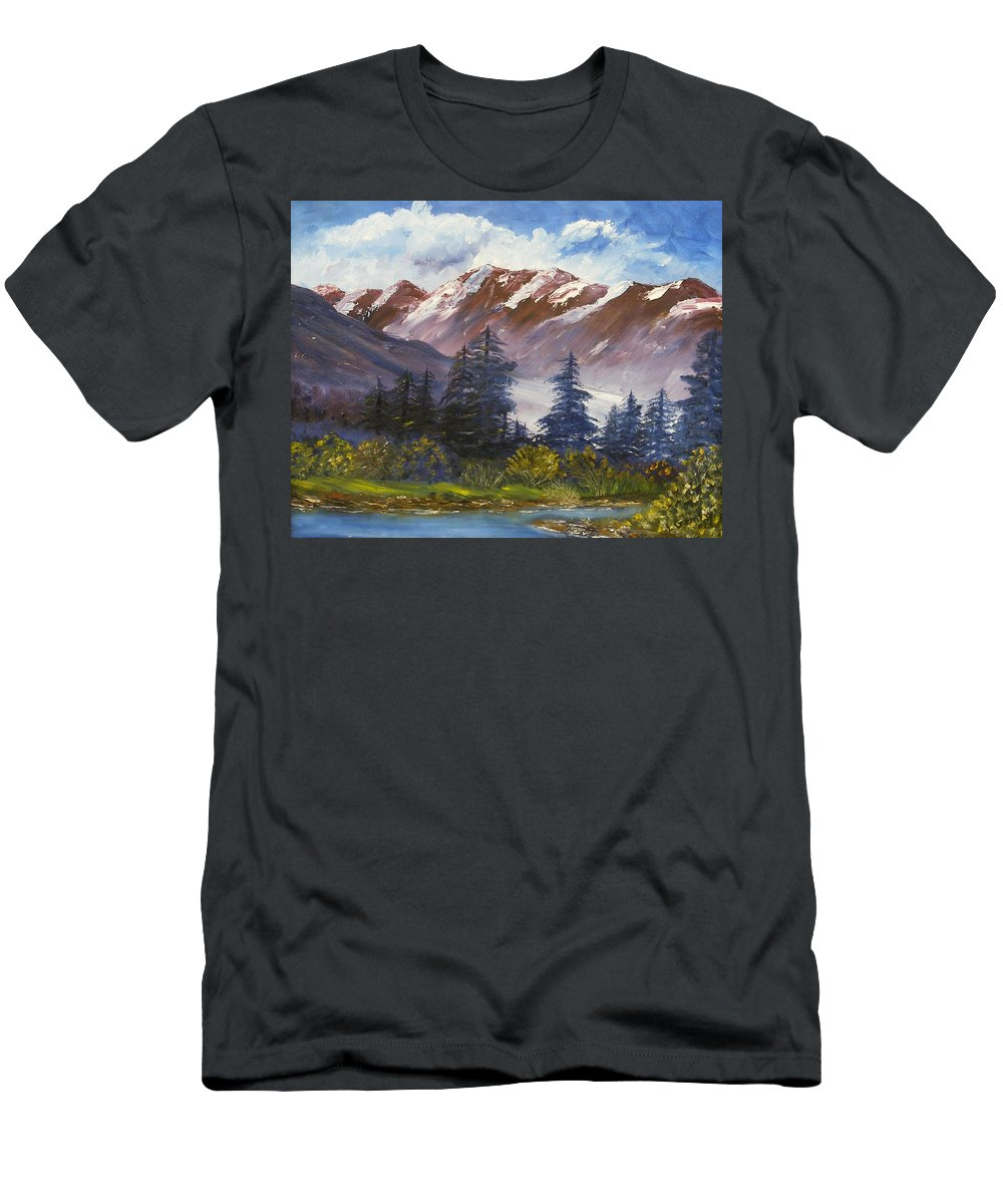 Oil Painting Men's T-Shirt (Athletic Fit) featuring the painting Mountains I by Lessandra Grimley