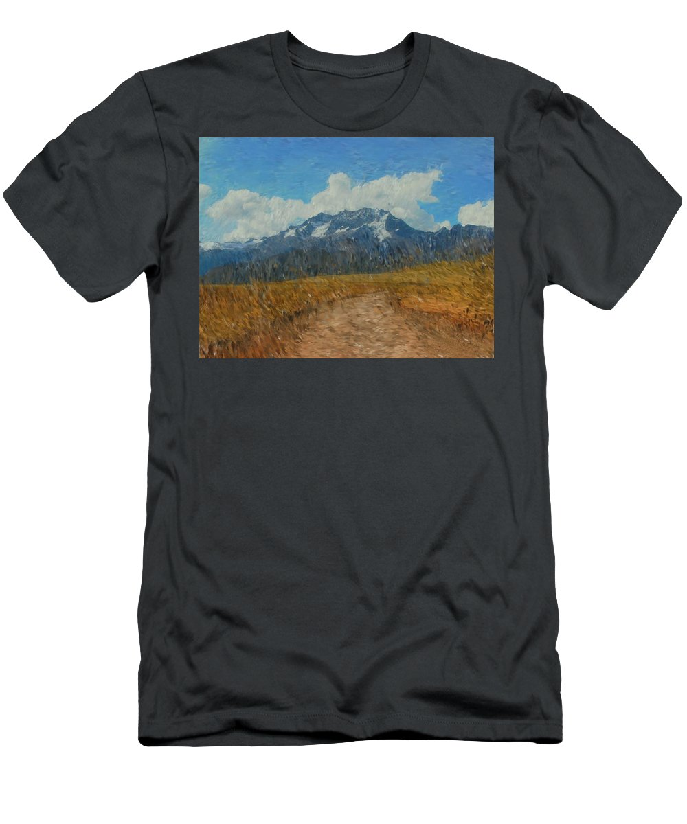 Abstract Digital Painting Men's T-Shirt (Athletic Fit) featuring the photograph Mountains In Puru by David Lane