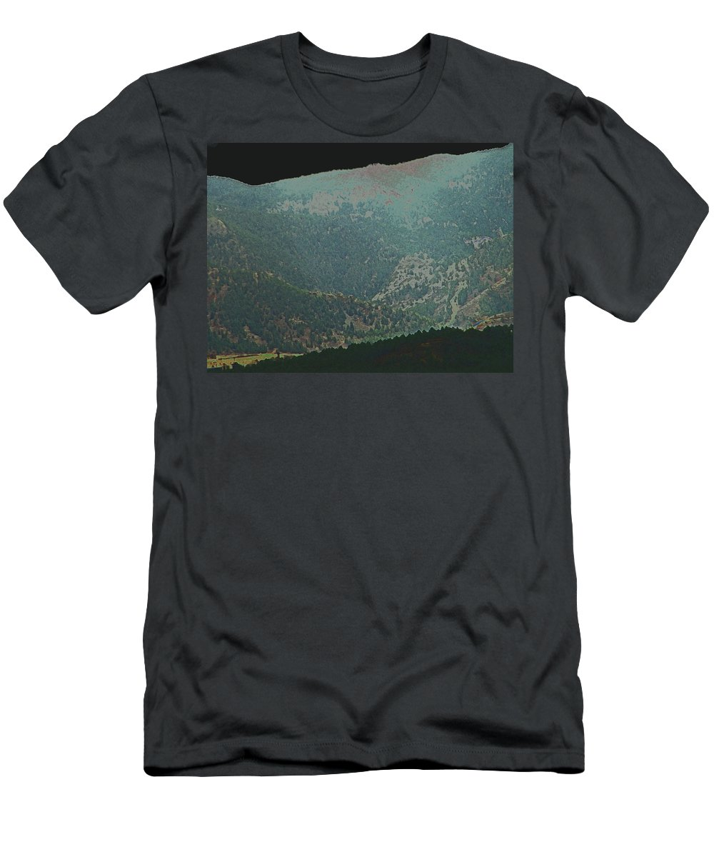 Abstract Men's T-Shirt (Athletic Fit) featuring the photograph Mountains Peeking Through by Lenore Senior
