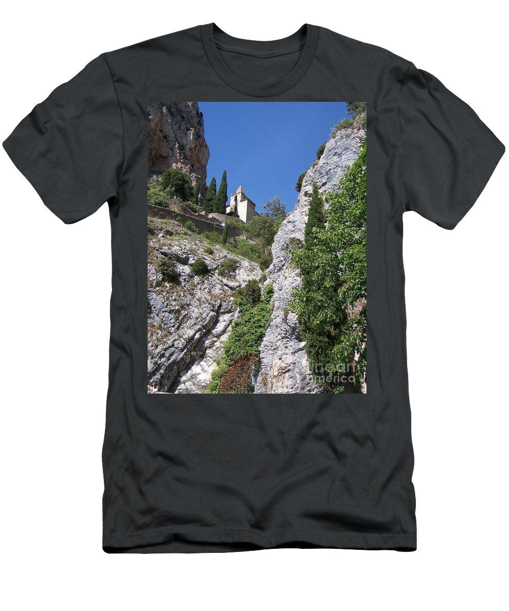 Church Men's T-Shirt (Athletic Fit) featuring the photograph Moustier St. Marie Church by Nadine Rippelmeyer