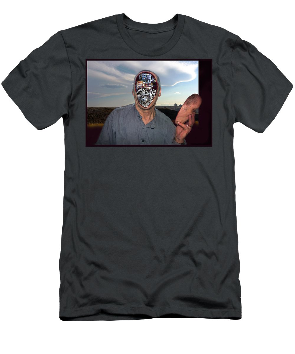 Surrealism Men's T-Shirt (Athletic Fit) featuring the digital art Mr. Robot-otto by Otto Rapp