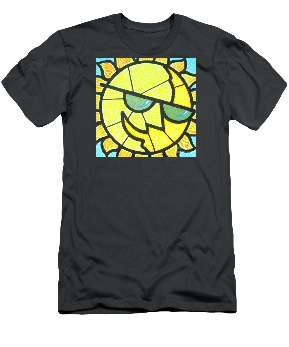 Sunshine Men's T-Shirt (Athletic Fit) featuring the painting Mr Sunny Day by Jim Harris