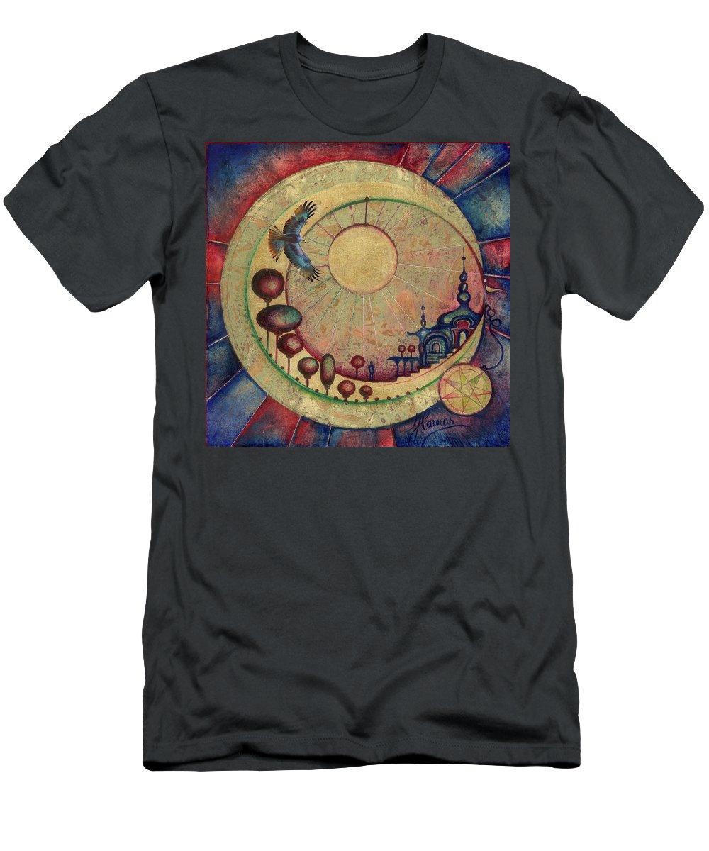 Moon Men's T-Shirt (Athletic Fit) featuring the painting Mr Twardowski On The Moon by Anna Ewa Miarczynska