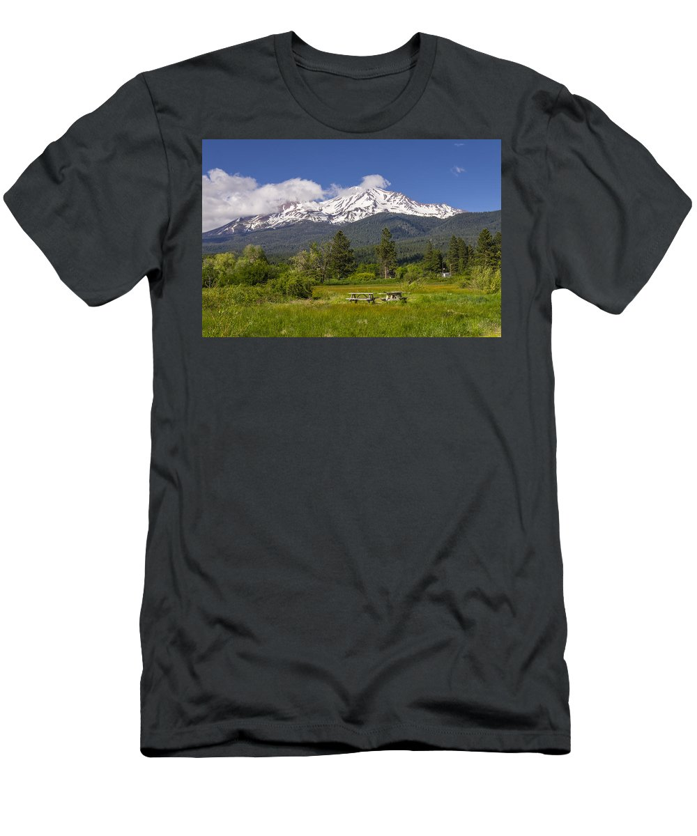 Agriculture Men's T-Shirt (Athletic Fit) featuring the photograph Mt Shasta With Picnic Tables by John Trax