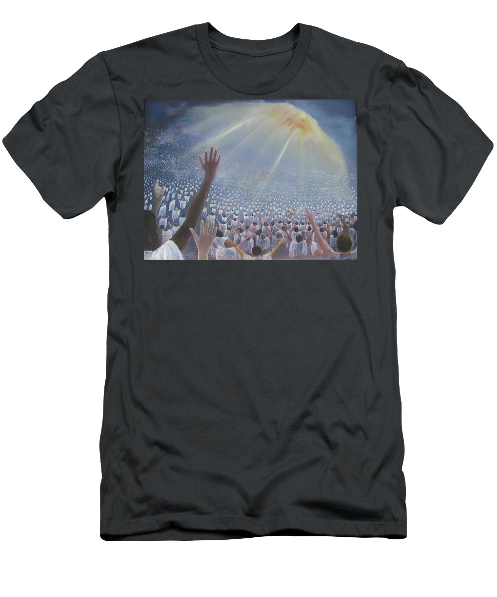 Heaven Men's T-Shirt (Athletic Fit) featuring the painting Multitude Of Worshippers by Gregory Staton