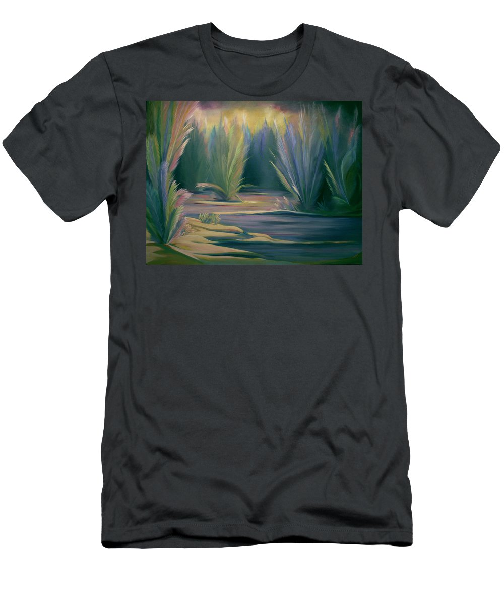 Feathers Men's T-Shirt (Athletic Fit) featuring the painting Mural Field Of Feathers by Nancy Griswold