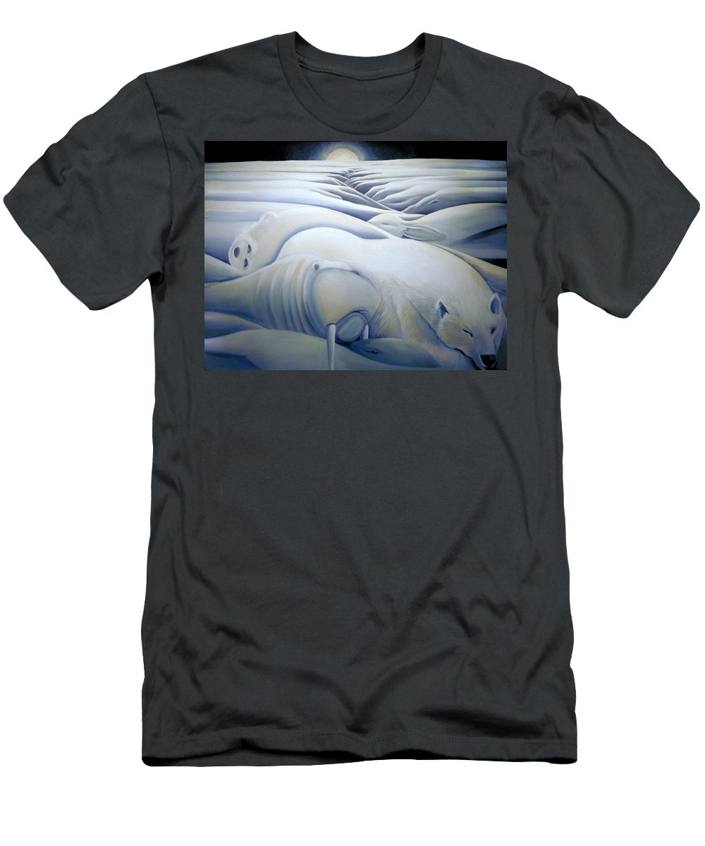 Mural Men's T-Shirt (Athletic Fit) featuring the painting Mural Winters Embracing Crevice by Nancy Griswold