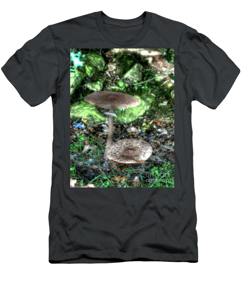 Mushroom Men's T-Shirt (Athletic Fit) featuring the photograph Mushrooms Hdr by P Donovan