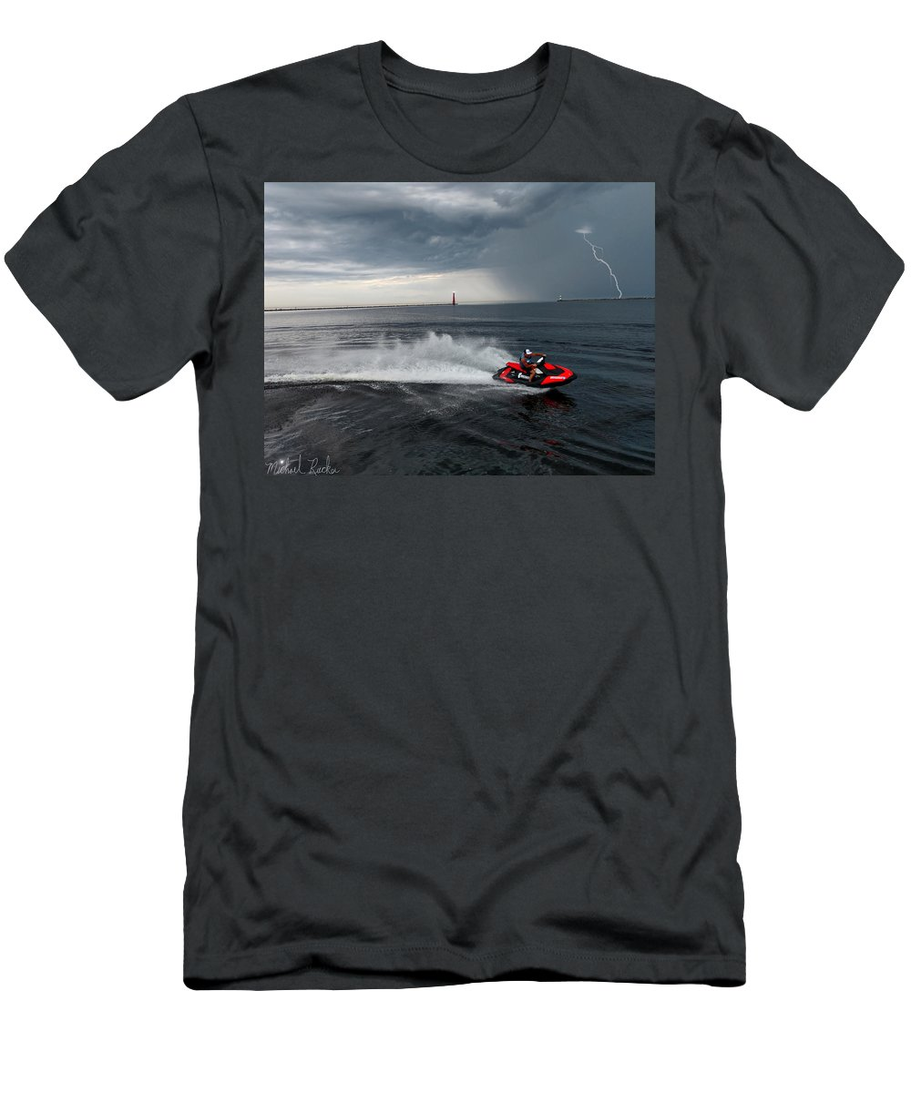 Jet Ski T-Shirt featuring the photograph Muskegon South Pier Lighthouse by Michael Rucker