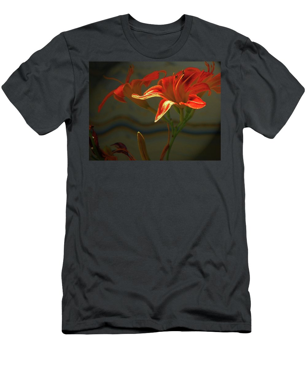 Abstract Men's T-Shirt (Athletic Fit) featuring the photograph My Daylilies 2 by Lenore Senior